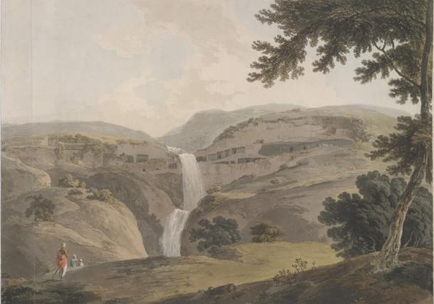 Painting of the mountain of Ellora. (1803) By Thomas Daniell.