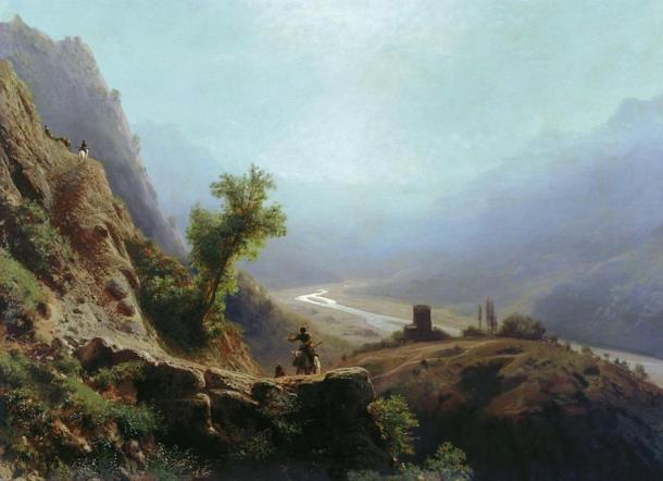 'In the mountains of the Caucasus, 1879' by Lev Feliksovich Lagorio