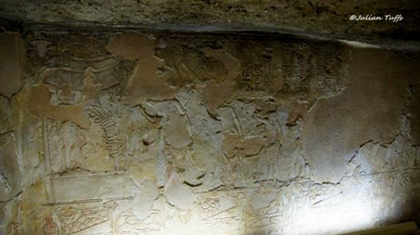 """The famous """"mourning scene"""" in the communal Royal Tomb at Amarna (TA 26B - Chamber gamma) shows Akhenaten and Nefertiti grieving the death of Princess Meketaten. This is an incomparable representation—not seen before or since in Egyptian art—involving a Pharaoh and his family. In a register nearby, a nurse cradles a baby, thought to be Tutankhaten."""