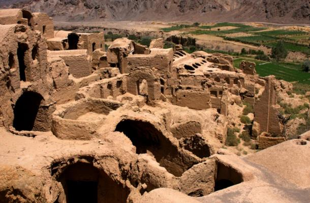 The collapsing mudbrick houses of Kharanaq, Iran.