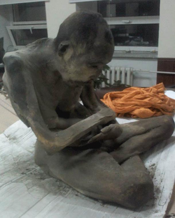 The mummified remains of a monk found on 27th of January in Mongolia.