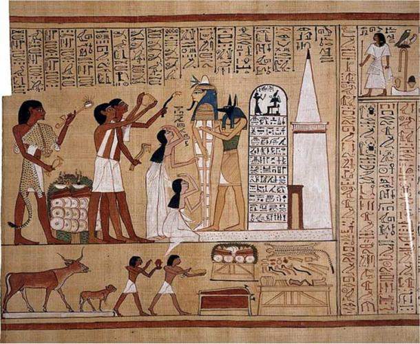 The mummy of Hunefer is shown supported by the god Anubis (or a priest wearing a jackal mask). Hunefer's wife and daughter mourn and three priests perform rituals including the Opening of the Mouth ritual. The lower scene has a table bearing the various implements needed for the ritual and animals being led to sacrifice.