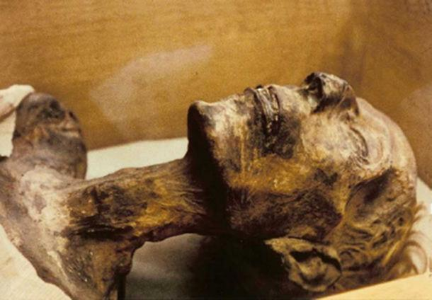 An examination in the 1970s of the mummy of Rameses II revealed fragments of tobacco leaves in its abdomen. (CC BY SA 3.0)