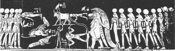 In this mural, Orion is below the bull tryign to suppor him, but he is on unstable footing as he is standing on the Destroyer's switch. There is an alligator, lion, hawk and a figure lying face down in front of the small boy.