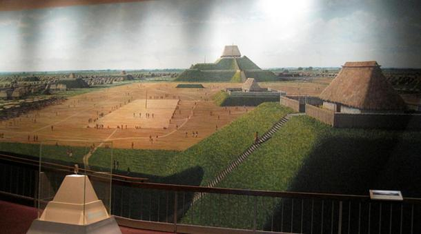 A mural depicting the ancient city of Cahokia.