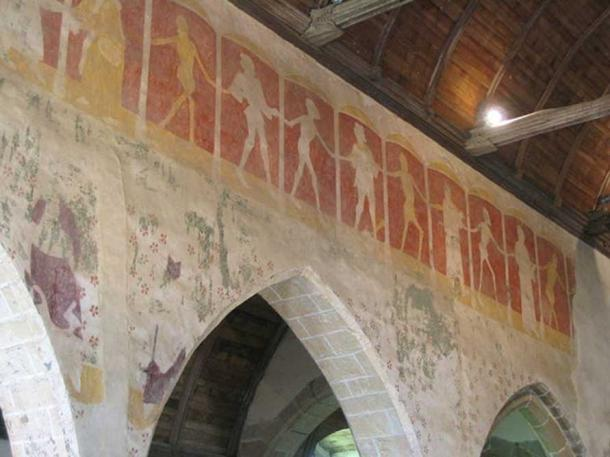 Mural of the Danse Macabre from the parish church of Kermaria-en-Isquit, France (late 15th century).