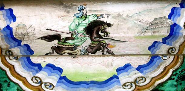 """A mural of Guan Yu's """"Riding Alone for Thousands of Miles"""" (千里走單騎) in the Summer Palace, Beijing. (Shizhao/CC BY SA 1.0)"""