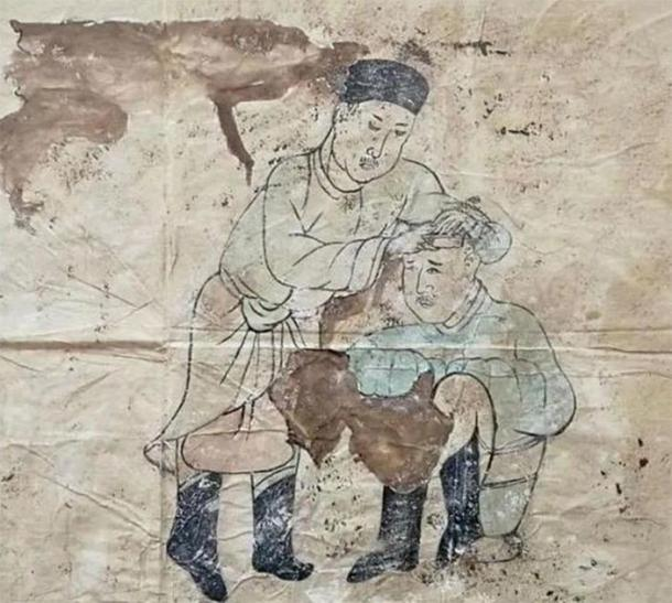 A mural of Khitan daily life – cutting hair. (CFTV)