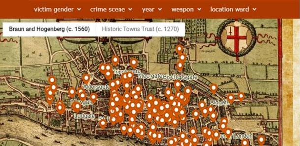 A screenshot of the 'murder map', revealing the meanest streets in Medieval London. (Violence Research Centre)