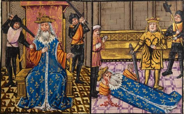 Late 15th Century depiction of the murder of Darius by his generals; Alexander at the side of the dying king.