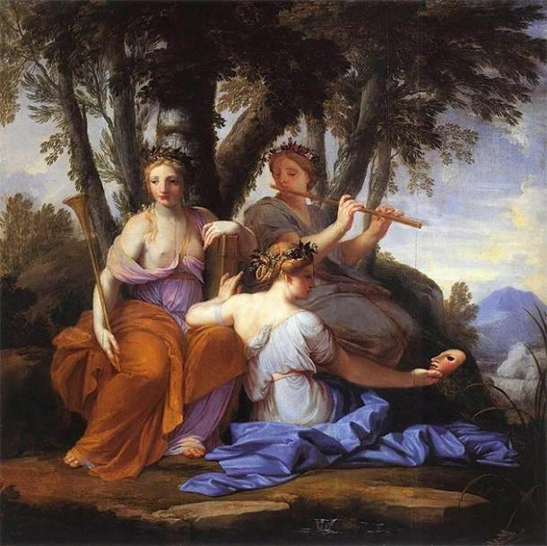 The Muses Clio, Euterpe, and Thalia. (JarektUploadBot / Public Domain)