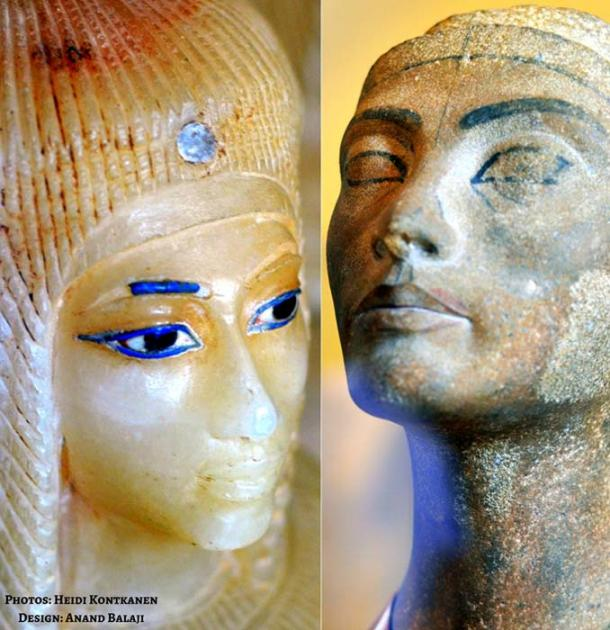 Who was the mysterious Tadukhepa? A canopic jar head, purportedly of Kiya, from KV55 and (right) an unfinished sculpture of Nefertiti from the Amarna workshop of the royal artist Thutmose. Egyptian Museum, Cairo.