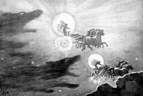 Illustration of the mythical Norse skywolves chasing the sun and moon. 'The Wolves Pursuing Sol and Mani' (1909)