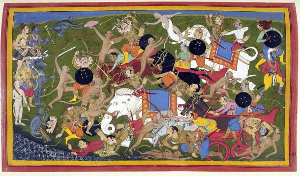 A painting of a mythical battle involving monkeys and elephant between the Hindu man-god Rama and the King of Lanka; both monkeys and elephants have been used in actual warfare.