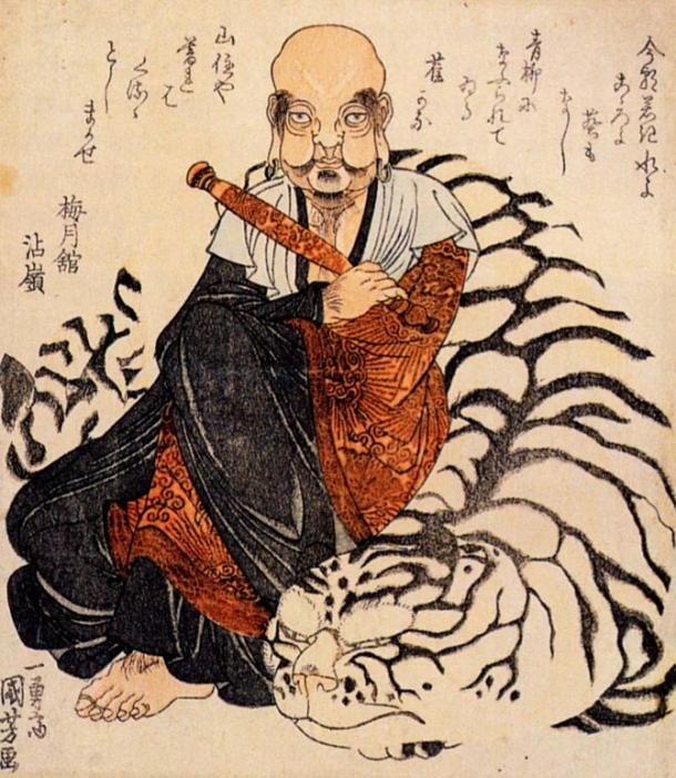 "The mythological ""Hattara Sonja with his white tiger."""