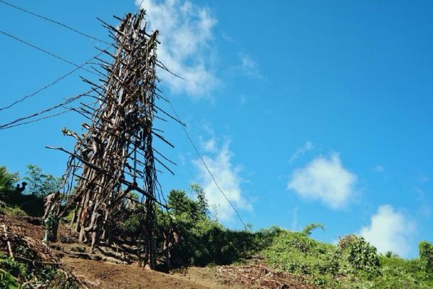 The nagol tower that the contestants perform the land diving from. (simanlaci / Adobe stock)