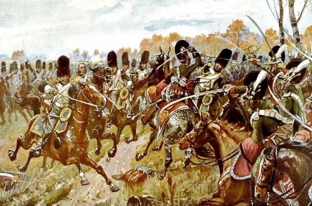 The French grenadiers against the Bavarian light cavalry in one of the decisive moments of the battle of Hanau