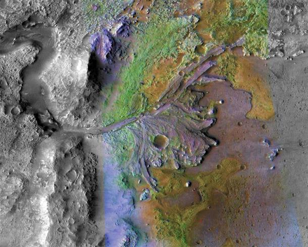 NASA's Mars Perseverance Rover, expected to launch in July 2020, will land in Jezero crater, pictured here. The image was taken by instruments on NASA's Mars Reconnaissance Orbiter, which regularly captures potential landing sites for future missions. (NASA / JPL-Caltech / ASU)