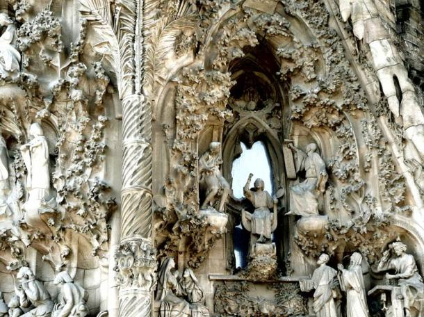 The nativity facade of the Sagrada Familia church designed by Antoni Gaudi