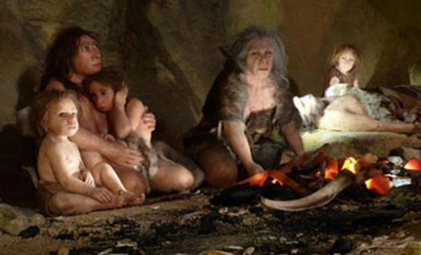 Depiction of a Neanderthal family. An exhibit at the Neanderthal Museum in Krapina, Croatia.