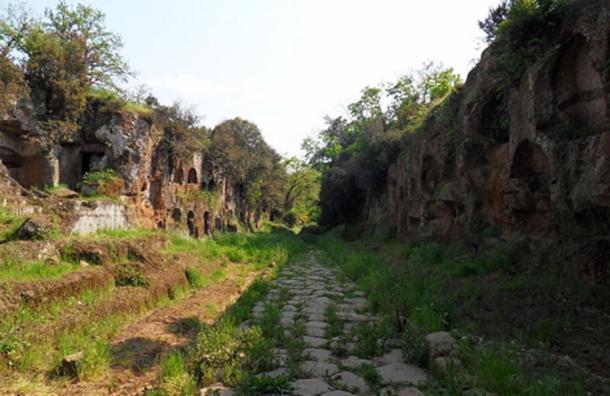 "Photo of the necropolis of ""Tre ponti"": the ""Cavo degli Zucchi"" with the Roman Amerina via (road) near Falerii, Italy."