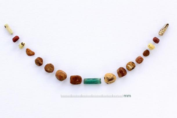 The necklace of amber pendants and glass beads. (Image: Canterbury Trust)