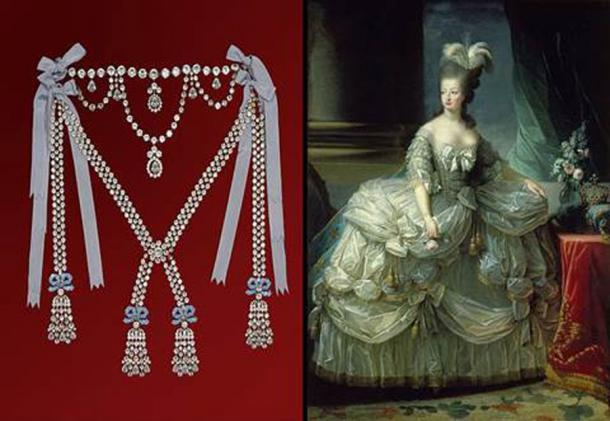 Replica of the necklace and portrait of Marie Antionette (Château de Breteuil / CC BY-SA 3.0)
