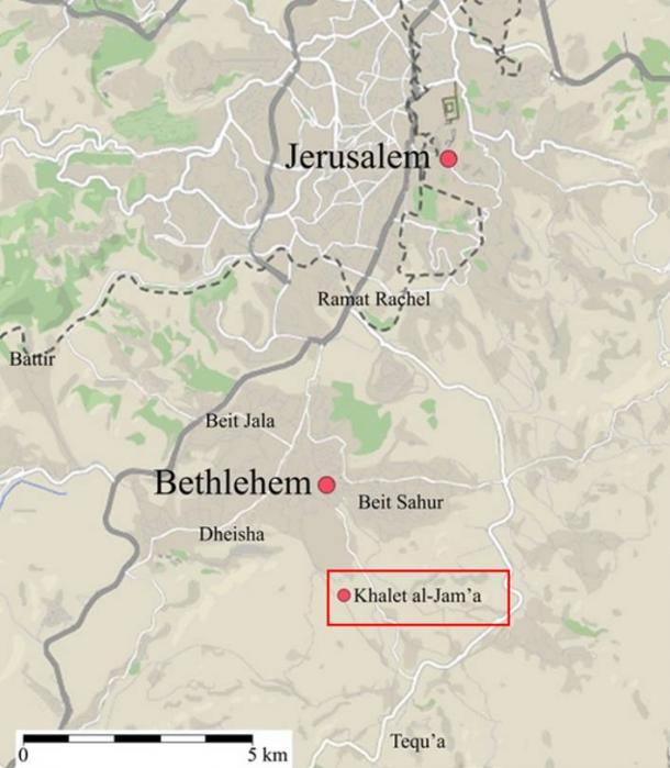 A map of the area where the ancient burial ground was found on a hillside. The Khalet al-Jam'a necropolis is located just to the south of Bethlehem.