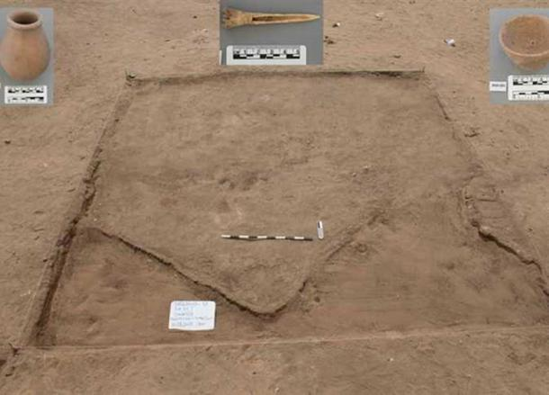 A section of the newly-discovered site with some artifacts found within it.