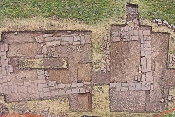 The newly-excavated church remains on Holy Island