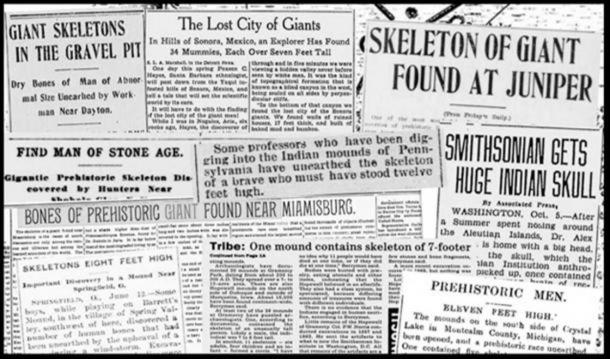 A selection of newspaper clippings reporting on discoveries of giant skeletons. Credit: Hugh Newman