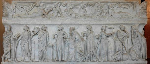 The Nine Muses on a 2nd century Roman sarcophagus. (Jastrow / Public Domain)