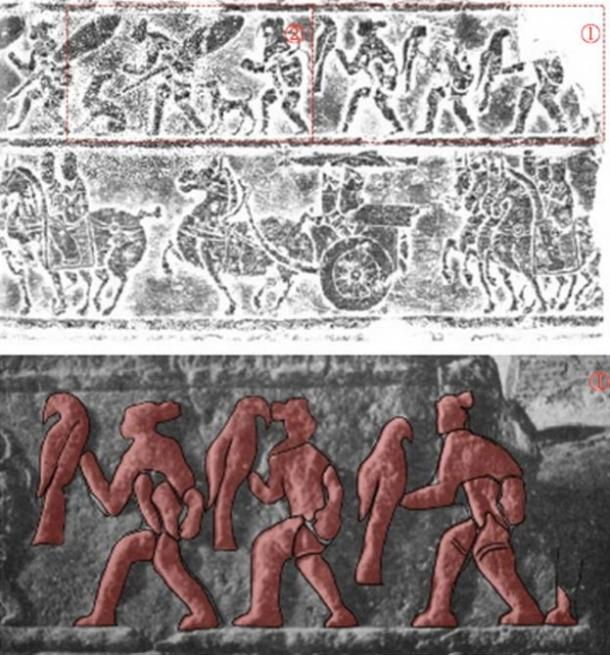 FIG 1.3. Central Asian nomad eagle hunters on ancient Chinese stone reliefs