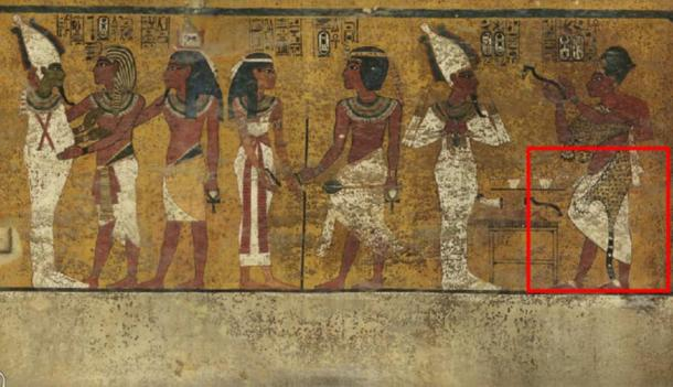 Scans of the north wall of King Tutankhamun's burial chamber have revealed features beneath the intricately decorated plaster (highlighted) a researcher believes may be a hidden door, possibly to the burial chamber of Nefertiti. Credit: Factum Arte.