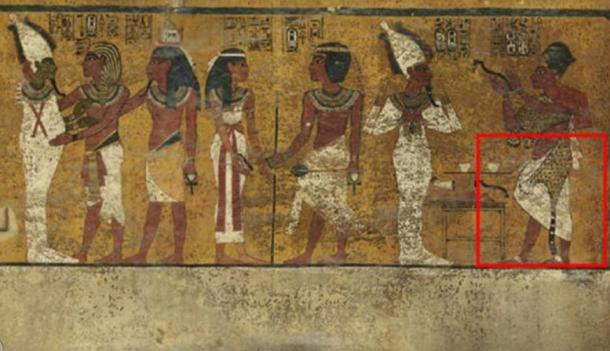 Previous scans of the north wall of King Tutankhamun's burial chamber indicated features beneath the intricately decorated plaster (highlighted) a researcher believes may be a hidden door, possibly to the burial chamber of Nefertiti.