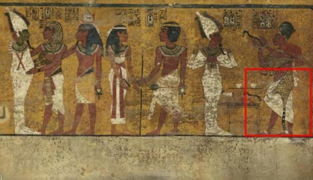 Scans of the north wall of King Tutankhamun's burial chamber have revealed features beneath the intricately decorated plaster (highlighted) a researcher believes may be a hidden door, possibly to the burial chamber of Nefertiti