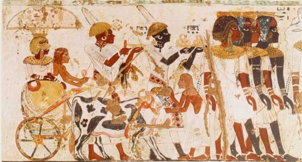 Nubians bringing tribute to the Pharaoh, from the tomb of Huy