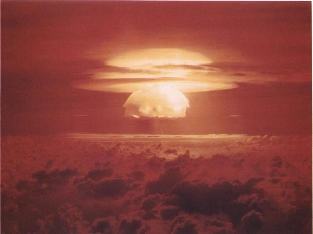 In 1954, the U.S. government set off nuclear bombs on Bikini Atoll five times over a few months. Bikini is near Rongelap Atoll. While Bikini was evacuated, Rongelap was not, and many people contracted radiation sickness and cancer, and many women had stillborn babies.