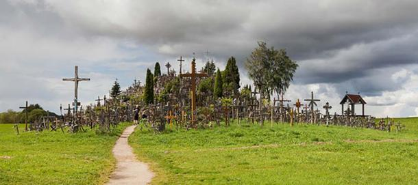 View of the numerous crosses on the hill.
