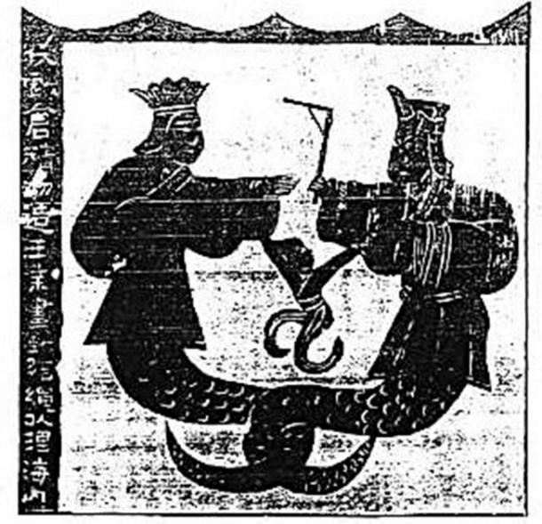 Nuwa and Fuxi depicted on Chinese murals of the Wu Liang shrines, Han dynasty (206 BC – 220 AD). (Miuki / Public Domain)