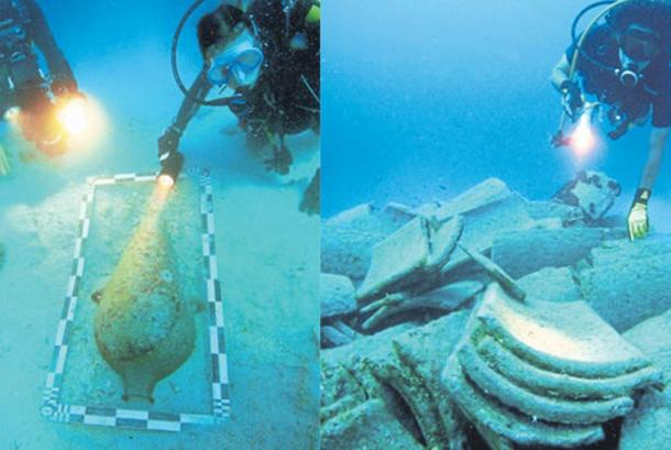 Underwater archaeologists examine objects found around the wreck.