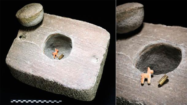 The offering inside its box: a miniature gold bracelet and miniature llama or alpaca (T. Seguin, Université libre de Bruxelles / Antiquity Publications Ltd)