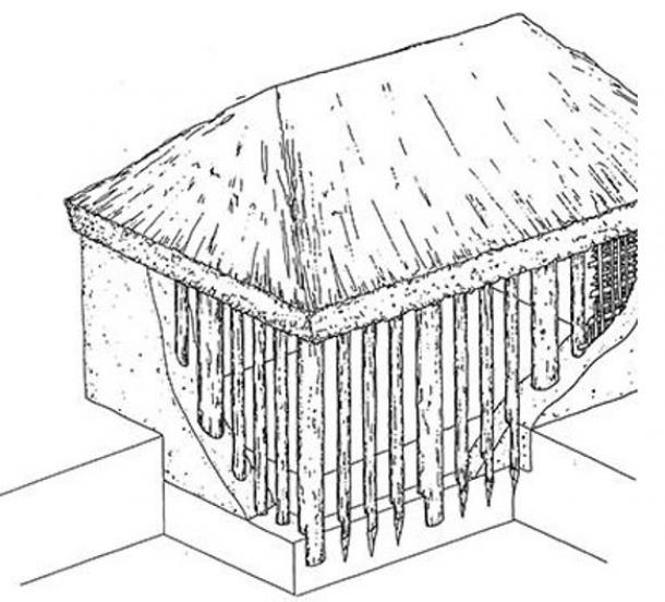 "Artist's rendition of the ""o-kabe"" style structure (Takatori town board of education)"