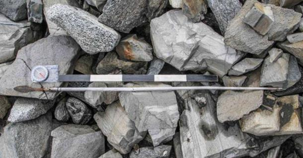 A 1000 year old arrow found in the Jotunheimen mountains in 2014. It is relatively well preserved, but the lack of fletching and sinew shows that it has been out of the ice before.