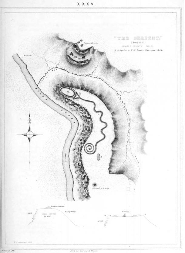 An old drawing of the Great Serpent Mound, Ohio. (Ephraim George Squier and Edwin Hamilton Davis