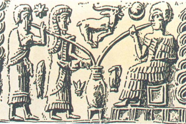 The oldest depiction of beer-drinking shows people sipping from a communal vessel through reed straws
