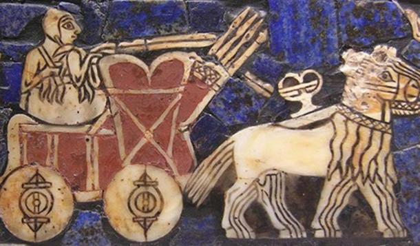 """A depiction of an onager-drawn cart on the Sumerian """"battle standard of Ur."""""""