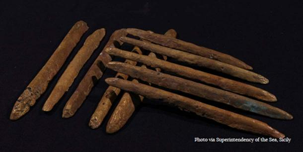 Some of the orichalcum ingots found near a 2,600-year-old shipwreck off the coast of Sicily.