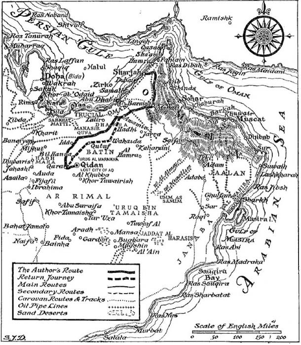 O'Shea's original map of his journey and the location of the Lost City of 'Ad. Image credit: The Sand Kings of Oman (1947)