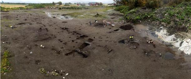 An overview of the Ørland dig where the boat and shoes were found.